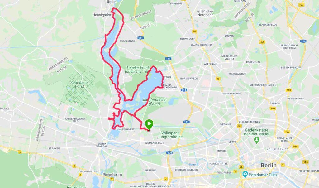 Die Strecke des Berliner Vollmond-Marathons