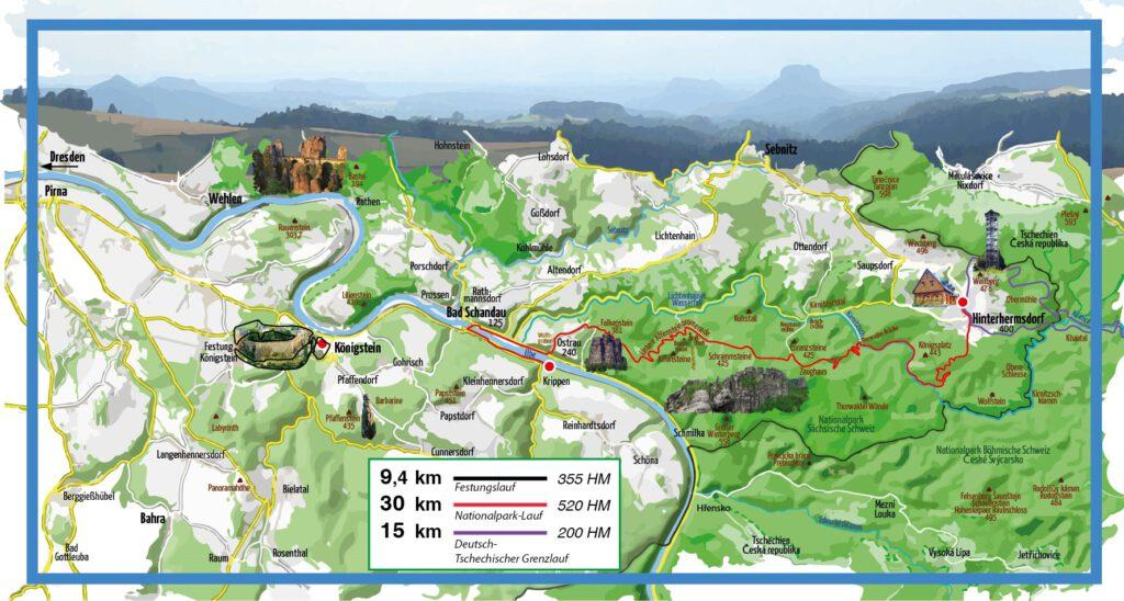 Alle drei Strecken der Panorama Tour (c) Lausitzer-Sportevents e.V.